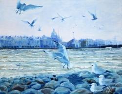 Хочу летать я белой чайкой по утрам. Картина художника Кирдянова Дениса